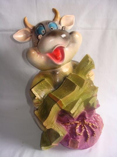 Статуэтка фигурка для сада «Корова с долларами»